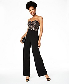 Juniors' Sequined Sweetheart Jumpsuit