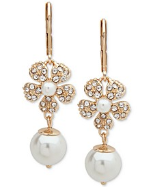 Gold-Tone Pavé & Imitation Pearl Flower Linear Drop Earrings