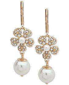 Anne Klein Gold-Tone Pavé & Imitation Pearl Flower Linear Drop Earrings