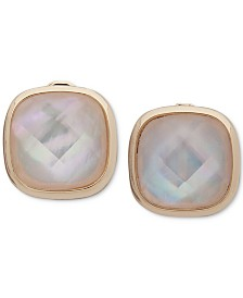 Anne Klein Gold-Tone Imitation Mother-of-Pearl E-Z Comfort Clip-On Stud Earrings