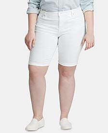 Lauren Ralph Lauren Plus Size Denim Bermuda Shorts,White Wash