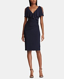 Lauren Ralph Lauren Petite Rhinestone-Pin Ruffled-Neck Jersey Dress