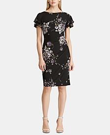 Floral-Print Flutter-Sleeve Jersey Dress
