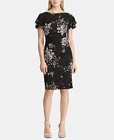 Lauren Ralph Lauren Floral-Print Flutter-Sleeve Jersey Dress