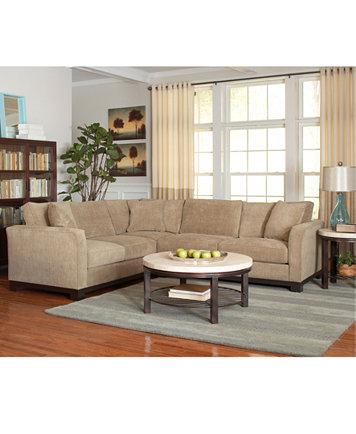 Tempo Travertine Top Round Coffee Table Furniture Macy S