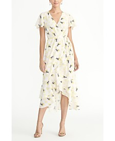 RACHEL Rachel Roy Ruffle Sleeve Printed Georgette Midi Dress