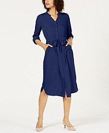 Petite 3/4-Sleeve Belted Shirtdress, Created for Macy's