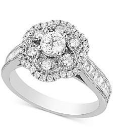 Diamond Flower Cluster Engagement Ring (1-1/4 ct. t.w.) in 14k White Gold