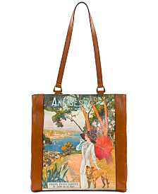 Patricia Nash Viana Travel Poster Leather Tote