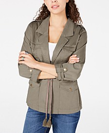 Juniors' Notched-Collar Drawstring Jacket, Created for Macy's