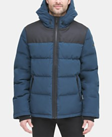 DKNY Men's Mixed-Media Puffer Coat, Created for Macy's