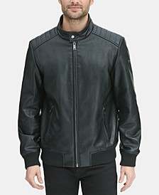 Men's Faux Leather Quilted Shoulder Bomber Jacket