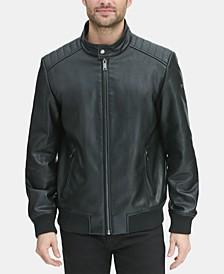 Men's Faux Leather Quilted Shoulder Bomber Jacket