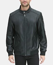 DKNY Men's Faux Leather Quilted Shoulder Bomber Jacket