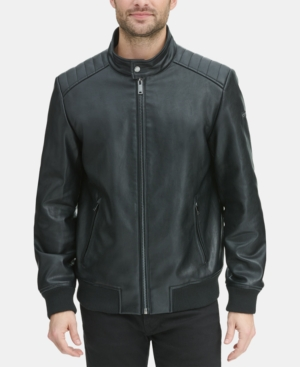 Dkny Men S Faux Leather Quilted Shoulder Bomber Jacket In