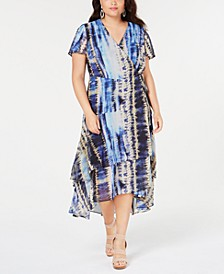 INC Plus Size Tie-Dyed Tiered-Hem Wrap Dress, Created for Macy's