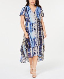 I.N.C. Plus Size Tie-Dyed Tiered-Hem Wrap Dress, Created for Macy's