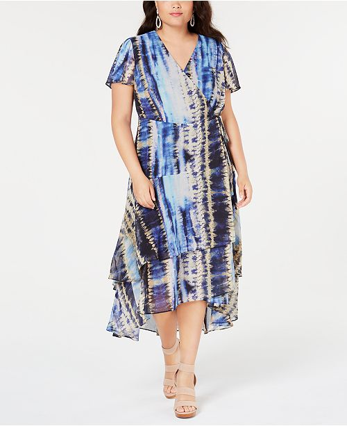 INC Plus Size Tie-Dyed Tiered-Hem Wrap Dress, Created for Macy\'s