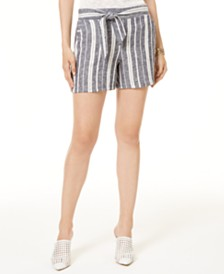 I.N.C. Striped Tie-Waist Shorts, Created for Macy's
