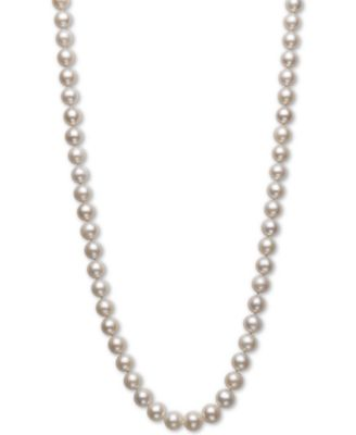 14K White Gold Necklace With Cultured Freshwater Pearls 24 Inches
