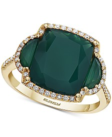 EFFY® Green Onyx & Diamond (1/5 ct. t.w.) Statement Ring in 14k Gold