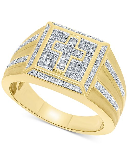 Macy's Men's Diamond Cross Ring (1/2 ct. t.w.) in 10k Gold