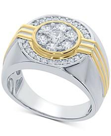 Men's Diamond Cluster (1 ct. t.w) Halo Ring in 10k Gold & White Gold