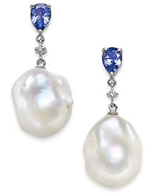 Tanzanite (1-3/8 ct. t.w.), White Cultured Baroque Freshwater Pearl (13mm) & Diamond Accent Drop Earrings in 14k White Gold