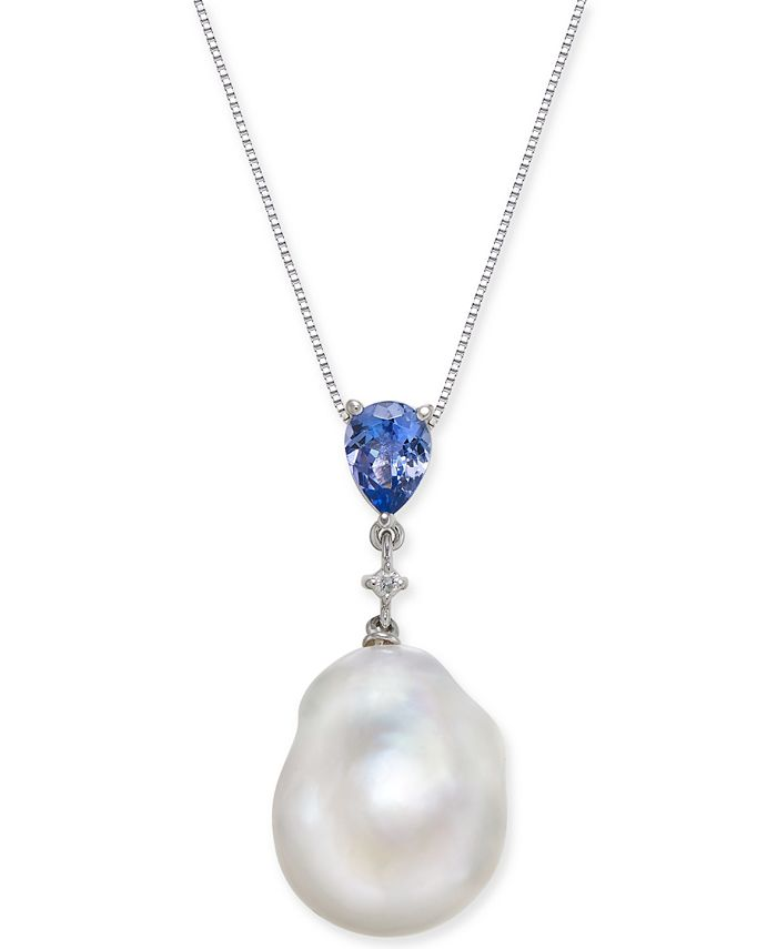 """Macy's - Cultured Baroque Freshwater Pearl (13mm) & Tanzanite (3/4 ct. t.w.) & Diamond Accent 18"""" Pendant Necklace in 14k White Gold"""