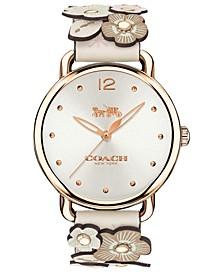 Women's Delancey White Leather Strap Watch 36mm
