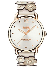 COACH Women's Delancey White Leather Strap Watch 36mm