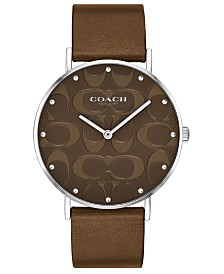 COACH Women's Perry Bronze Leather Strap Watch 36mm, Created For Macy's