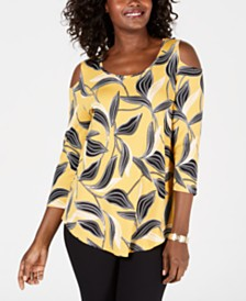 JM Collection 3/4-Sleeve Printed Cold-Shoulder Top, Created for Macy's