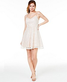 Juniors' Beaded Fit & Flare Dress