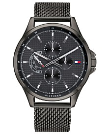 Tommy Hilfiger Men's Gunmetal Stainless Steel Mesh Bracelet Watch 44mm, Created For Macy's