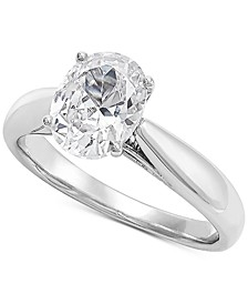 Lab Grown Oval Diamond Solitaire Engagement Ring (1-1/2 ct. t.w.) in 14k White Gold