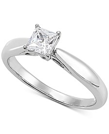 Lab Grown Diamond Princess Solitaire Engagement Ring (1/2 ct. t.w.) in 14k White Gold