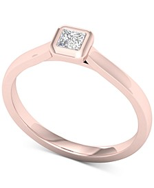 Diamond Princess Solitaire Ring (1/5 ct. t.w.) in 14k Rose Gold