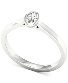 Diamond Oval Solitaire Ring (1/5 ct. t.w.) in 14k White Gold