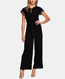 CeCe Flutter-Sleeve Embroidered Jumpsuit