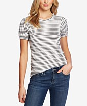 706c4363a04987 CeCe Striped Puff-Sleeve Top