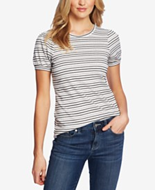 CeCe Striped Puff-Sleeve Top