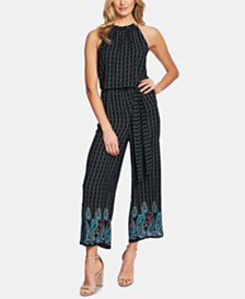 CeCe Sleeveless Printed Halter-Neck Jumpsuit