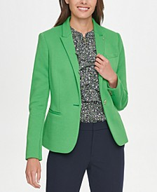 Single-Button Elbow-Patch Blazer
