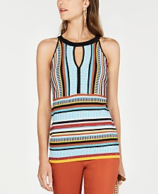I.N.C. Striped Knit Halter Top, Created for Macy's