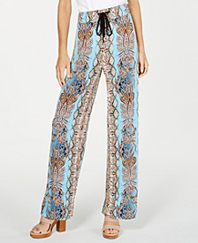 INC Petite Printed Crinkle Gauze Wide-Leg Pants, Created for Macy's