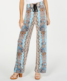 I.N.C. Petite Printed Crinkle Gauze Wide-Leg Pants, Created for Macy's