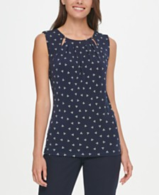 Tommy Hilfiger Printed Pleated Top