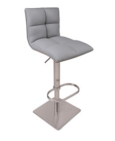 AC Pacific Hydraulic Swivel Brushed Stainless Steel Bar Stool with Walnut Veneer Back Rest