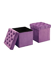 Foldable Storage Ottoman Cube Foot Rest, 2 Pack